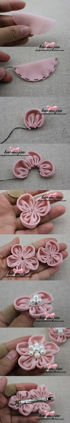 Cute and easy DIY fabric flower pins!  You can add it to a hat, scarf, skirt, blazer, or even your head band!