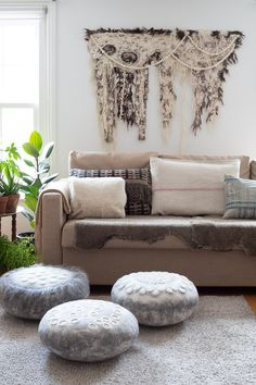 Handmade felted wallhangings, footstools, cushions and other home accessories designed by Artisan Feltmaker Dyane Brown. Home Accessories, Love Seat, Product Launch, Cushions, Felt, Couch, Throw Pillows, Warm, Wall Art