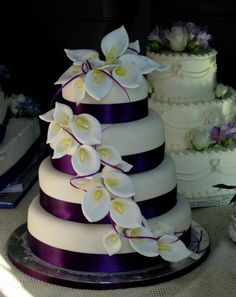 Like the cake but should picasso lilly. With lime green ribbon 🙂 Comme le gâteau, mais devrait picasso Lilly. Round Wedding Cakes, Purple Wedding Cakes, Wedding Cakes With Flowers, Cool Wedding Cakes, Elegant Wedding Cakes, Beautiful Wedding Cakes, Gorgeous Cakes, Wedding Cake Designs, Pretty Cakes