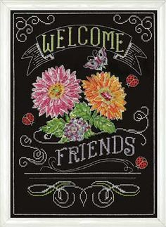 "This counted cross stitch design looks like it has been drawn on a black chalkboard.  It reads ""Welcome friends"".  This complete kit contains 14-count Black Aida, floss, needle, and instructions.  Finished design is 10"" x 14""."