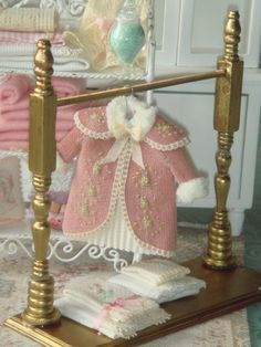 Girls dollhouse hand embroidered coat on hanger. 1:12 scale dollhouse children clothing.