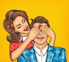 Buy Woman Close Eyes to the Her Man by vectorpocket on GraphicRiver. Vector pop art illustration of a young woman close eyes to the her man Pop Art Vintage, Illustration Pop Art, Comics Vintage, Desenho Pop Art, Comic Face, Vector Pop, Man Vector, Vector Free, Pop Art Girl