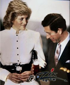 Diana and Charles in Germany having a beer