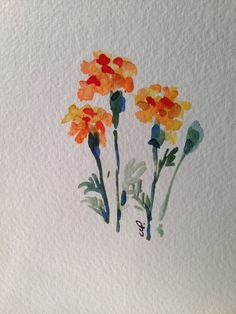 Marigold Watercolor Card Hearty Marigolds, I consider them a great fall flower even though the bloom all summer. I love the bug repellent quality of marigolds. Their smell is so unique. This card is and blank inside. I have used watercolor o Easy Watercolor, Watercolor Cards, Watercolour Painting, Painting & Drawing, Watercolors, Tattoo Watercolor, Painting Inspiration, Art Inspo, Illustration Blume