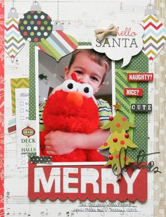 Merry - Scrapbook.com - Made with Simple Stories SNAP Christmas collection.