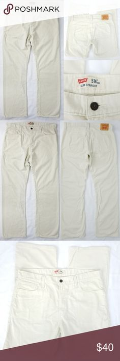 "Levis Slim Straight 514 Jeans Corduroy Pants 36x32 This pair of Levi's brand pants are an ivory corduroy in men's size 30 x 30. See measurements for your best fit.   5 pocket classic jeans styling Levi's Slim Straight 514 jeans 67% Cotton, 33% Polyester CONDITION: Gently used, minimal wear, 1 pin sized discolored dot on lower cuff, otherwise no flaws  MEASUREMENTS: all taken with garment laid flat   waist: 18x2=36  inseam: 32""  rise: 11""  cuff opening: 9x2=18"" Levi's Pants Corduroy"