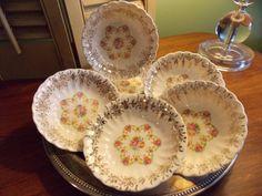 Set of Six BOWLS Berry / Dessert Bowls  by VintageCreativeAccen
