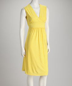 Take a look at this Lemon Polka Dot Dress by jon & anna on #zulily today!