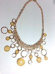 Gold & Honey Ring Statement Necklace & Earring Set via aladyloves.com