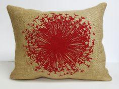 Red Dandelion Screen Print Pillow - Dandelion Flower Burlap Pillow - Decorative Throw Pillow Cushion Includes Insert on Etsy, £18.54