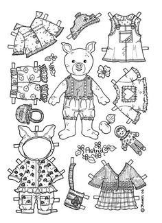 girl pig paper doll coloring page kid printablescoloring - Kids Printable Colouring Pages