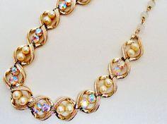 Vintage Napier Necklace Choker Collar  AB Rhinestones Pearls Victorian Retro  #Napier #Choker