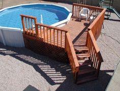 Deck With Ladder Platform Above Ground Pool Landscaping, Above Ground Pool Decks, Backyard Pool Landscaping, In Ground Pools, Landscaping Ideas, Backyard Ideas, Outdoor Ideas, Wood Pool Deck, Pool Deck Plans