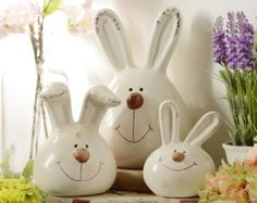 Hippity hoppity, Easter's on its way! Enjoy this set of 3 Easter bunny rabbit statues as a cute addition to your holiday decor. #kirklands #BunnyLove