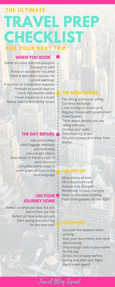 The Ultimate Travel Prep Checklist To Prepare For Your Next Trip. Take the stress out of preparing for your next trip with these tips for when you book, the week before, the day before, the day of and on your journey home. Click here to read the full post. Free download inside!