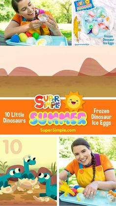 Make some cool dinosaur ice eggs and practice counting to ten with the Super Simple Song 10 Littel Dinosaurs! Counting Songs, Counting Activities, Summer Activities For Kids, Stem Activities, Toddler Activities, Cool Dinosaurs, Dinosaurs Preschool, Toddler Preschool, Transition Songs