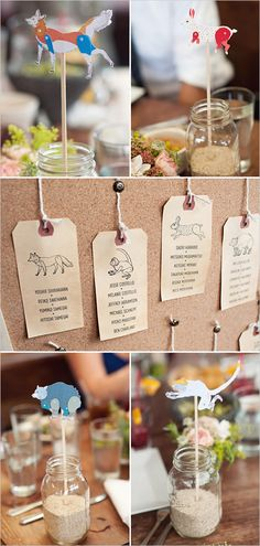 In lieu of escort cards, seating by animal match (but could be anything thematic) @Sarah Chintomby Hammer