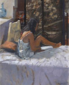 Sarah and the Silk Nightdress by Ken Howard