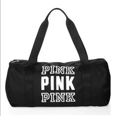 New VS Pink black sport duffel bag **No Trades. **All funds are going towards my daughter's DC ✈️and out of state basketball tournament⛹. Not asking for charity, just reasonable offers. Ships from non smoking home.Thx!  PINK nylon sport bag. Not too big, great for a quick trip to the gym or extra clothes for a night out. Black bag only PINK Victoria's Secret Bags Totes