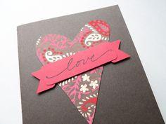Handmade Valentine Card  Heart masculine deep red by newnanc, $4.25