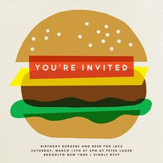 Burger Beer by The Indigo Bunting. Customize one of hundreds of online birthday party invitations. With RSVP tracking. View more designs on paperlesspost.com