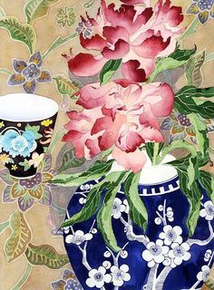 peonies with backdrop and teacup by Gabby Malpas