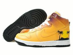 check out 927fc b3451 Nike Dunk High Paradise Custom Yellow White Black Brown