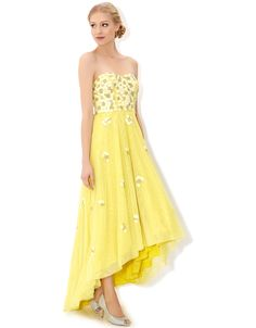 3/4/15  Brand/Designer: Monsoon Material: Polyester /Tulle Occasion: Prom Dress Neckline: Sweetheart Waistline: Empire Waistline Skirt: High-Low-Hem Embellishments: Gathered Lined Size Category: Adult Available Colors: Yellow