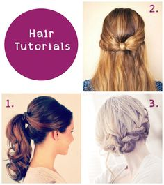 Hair Tutorials for prom. Bow, ponytail, french braid.