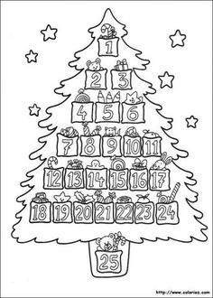 Advent Christmas Tree Coloring Page - Free Coloring Sheets Colorful Christmas Tree, Christmas Colors, Kids Christmas, Christmas Crafts, Christmas Wreaths, Christmas Decorations, Easy Coloring Pages, Free Coloring Sheets, Coloring Pages To Print