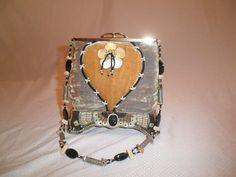 "Early MARY FRANCES ""magic spell"" Handmade Beaded handbag box purse #MaryFrances #ShoulderBag"