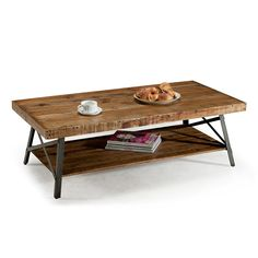 Amazon.com: Emerald Home Chandler Rustic Industrial Solid Wood and Steel Coffee Table with Open Shelf: Kitchen & Dining