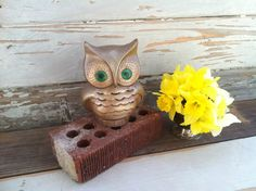 Retro owl candleholder with jewel green eyes by happydayantiques, $11.50