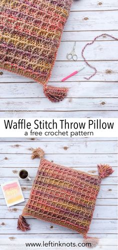 This free crochet pattern and video tutorial will teach you how to make your own Anthropologie-inspired waffle stitch throw pillow. This advanced beginner-friendly pattern uses Lion Brand Wool Ease Thick and Quick or a Super Bulky yarn of your choice. A right and left handed video tutorial are included with this pattern. This pillow will add a modern touch to any decor. #crochet #freecrochetpattern #diy #videotutorial
