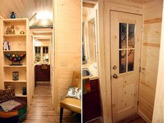 Sensational Tiny House Designs: Compact Interior Tiny Tumbleweed Homes Leather Chair DIY Bookcase