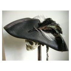 Black Leather Pirate Tricorn Hat with Feather Plume LARP ❤ liked on Polyvore featuring accessories, hats, leather hat, pirate hat, vintage hats, skull hat and feather hat