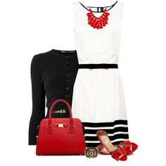 Black, White & Red by daiscat on Polyvore featuring MANGO, Dsquared2, Valentino, Michael Kors and Chanel