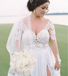 Is shopping for a plus size wedding dress causing you more stress and exhaustion than it is worth? You deserve to look your absolute best you your wedding day and if that means finding plus size wedding dresses that y. Wedding Gown Images, Sheer Wedding Dress, Sexy Wedding Dresses, Wedding Dress Sleeves, Perfect Wedding Dress, Bridal Dresses, Sleeve Dresses, Lace Sleeves, Elegant Wedding