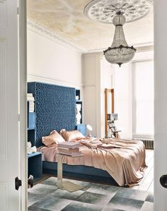Glamorous Bedroom In Blue And Pink With Showstopper Headboard   The Room  Edit