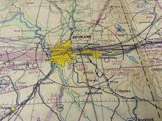Vintage 1947 Air Navigation Map: Spokane by Antiquitaria on Etsy
