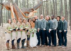 Adorable Colorado Spring rustic wedding. I love the jackets and sweaters!