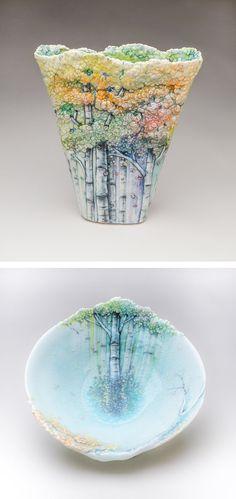 Ceramicist Heesoo Lee creates sculptural vessels that resemble aspen tree woodlands.
