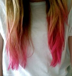 My dip dyed hair. Love it, can't wait to do it again and again in different colours!