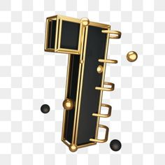 black gold wind cool countdown number 1 PNG and PSD