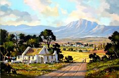 Artwork of Dale Elliot exhibited at Robertson Art Gallery. Original art of more than 60 top South African Artists - Since Landscape Artwork, Landscape Drawings, Abstract Landscape Painting, Landscape Photos, Forest Village, Pintura Exterior, South African Artists, Love Art, Holland