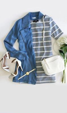 Lightweight chambray forms a collared neckline (with snap button strap) and a long, straight-cut bodice with gun flap.  #lovelulus