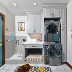 Tiny Laundry Rooms, Mudroom Laundry Room, Laundry Room Design, Laundry Sinks, Dog Bathing Station, Stackable Washer And Dryer, Stacked Washer Dryer, Laundry Dryer, Laundry Room Inspiration