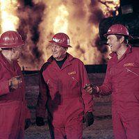 "John Wayne and Edward Faulkner in ""Hellfighters""1968 Universal** B.D.M. Color, Film Still, Fire Fighter, Fireman, Uniform mptv_2016_Sep_to_Dec_Update"