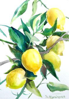 Lemons, Lemon tree, original watercolor painting