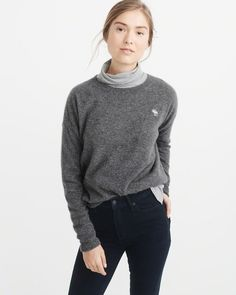 9cf39af77d A amp F Women s Cashmere Icon Crew Sweater in Dark Grey - Size XS Classic  Chic